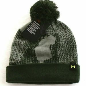 UNDER ARMOUR YOUTH BOYS COLDGEAR  GREEN KNIT HAT
